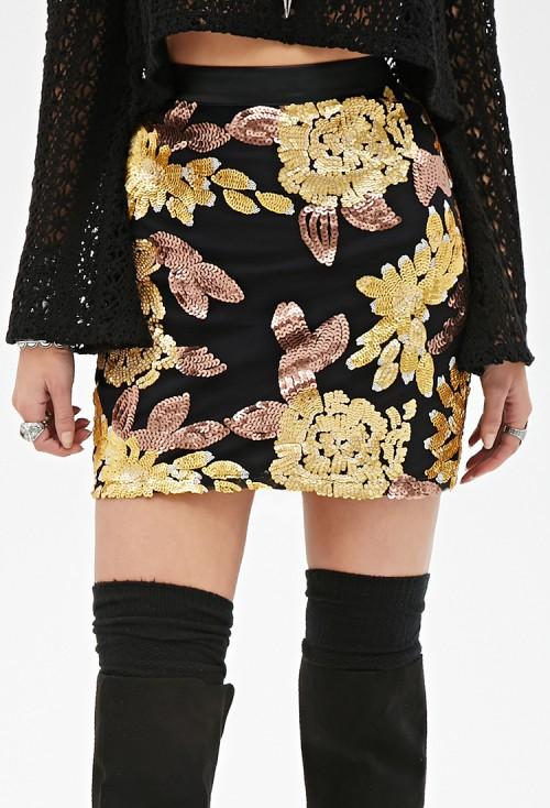 forever 21 sequin leather skirt