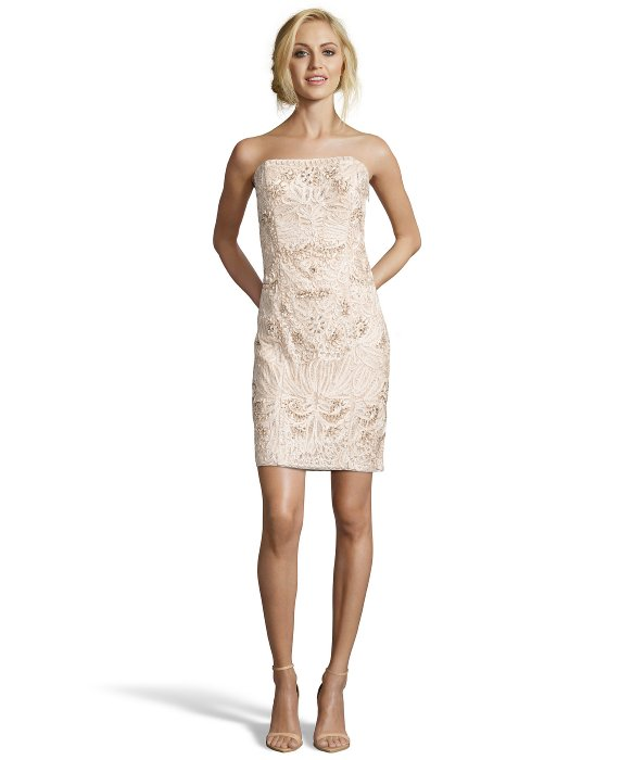 sue wong embroidered strapless dress